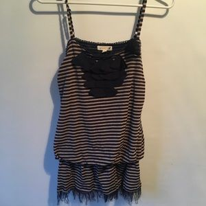 Anthropologie Mine Spaghetti Stripe Strap Top Sz l